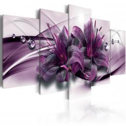 Murando DeLuxe Pìtidílné obrazy - fialové lilie Velikost  100x50 cm