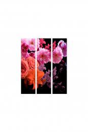 Murando DeLuxe Paraván fialovorùžové kvìty na èerné Samolepicí tapety  135x172 cm - zvìtšit obrázek
