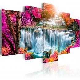 Murando DeLuxe Pìtidílné obrazy - barevný vodopád Velikost  220x110 cm