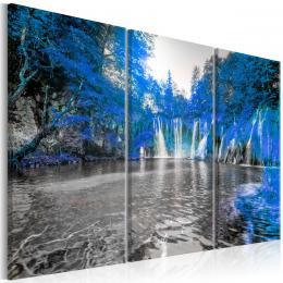 Murando DeLuxe Tøídílné obrazy - vodopád v modrém lese