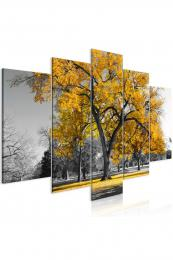Murando DeLuxe Pìtidílný obraz žlutý strom