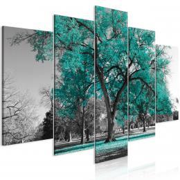 Murando DeLuxe Pìtidílný obraz podzim v parku - zelený I