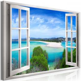 Murando DeLuxe Obraz okno rajská laguna