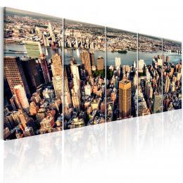 Murando DeLuxe Pìtidílný obraz - let na New Yorkem