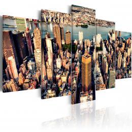 Murando DeLuxe Pìtidílný obraz - New York letem Velikost  100x50 cm