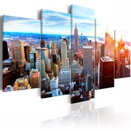 Murando DeLuxe Vícedílný obraz - záøící mrakodrapy Velikost  160x80 cm