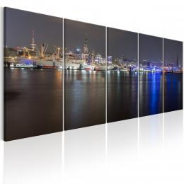 Murando DeLuxe Vícedílný obraz - noc v Hamburgu Velikost  200x80 cm