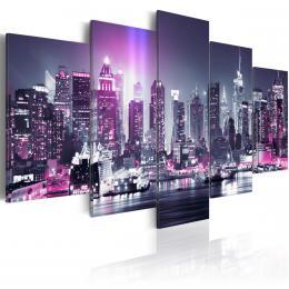 Murando DeLuxe Pìtidílné obrazy - fialové mìsto Velikost  220x110 cm