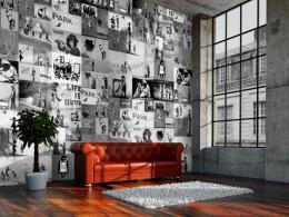 Murando DeLuxe Banksy šedá koláž Klasické tapety  49x1000 cm - samolepicí