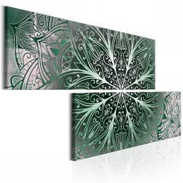 Murando DeLuxe Dvoudílné obrazy - zelená Mandala Velikost  160x80 cm