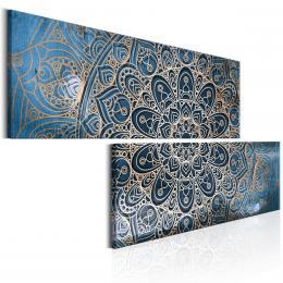 Murando DeLuxe Dvoudílné obrazy - zlato modrá Mandala Velikost  180x90 cm