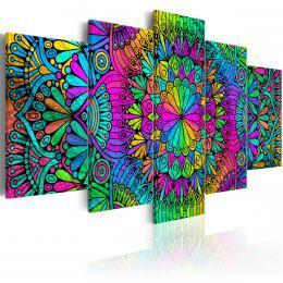 Murando DeLuxe Vícedílný obraz - barevná Mandala Velikost  220x110 cm