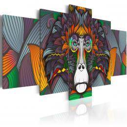 Murando DeLuxe Pìtidílné obrazy - barevná opice