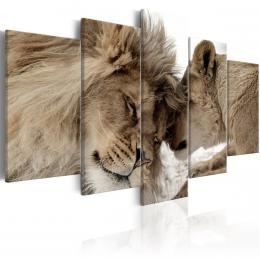 Murando DeLuxe Pìtidílný obraz - láska lvù Velikost  160x80 cm