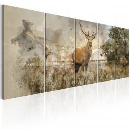 Murando DeLuxe Vícedílný obraz - malovaný jelen