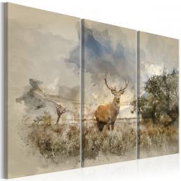 Murando DeLuxe Tøídílný obraz - jelen na poli Velikost  60x40 cm