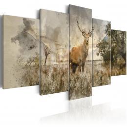 Murando DeLuxe Pìtidílný obraz - jelen na poli