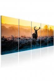 Murando DeLuxe Pìtidílný obraz - jelen v krajinì Vel. (šíøka x výška)  225x90 cm
