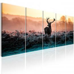 Murando DeLuxe Pìtidílný obraz - jelen v zimní krajinì