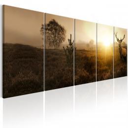 Murando DeLuxe Vícedílný obraz - jelen v zapadajícím slunci