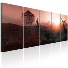 Murando DeLuxe Ètyødílný obraz - jelen v dálce Velikost  125x50 cm