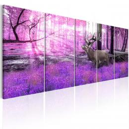 Murando DeLuxe Vícedílný obraz - jelen v lese Velikost  225x90 cm
