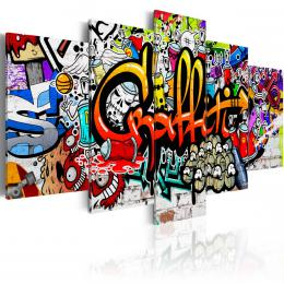 Murando DeLuxe Pìtidílný obraz - barevné graffiti