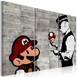 Murando DeLuxe Tøídílný obraz - Banksy Mario Bros