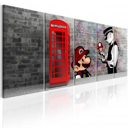Murando DeLuxe Vícedílný obraz - telefonní budka s graffiti II. Velikost  225x90 cm