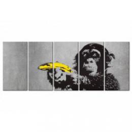 Murando DeLuxe Vícedílný obraz - opice a banán Velikost  225x90 cm
