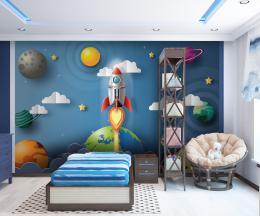 InSmile ® Dìtská tapeta raketa ve vesmíru Vel. (šíøka x výška)  144 x 105 cm