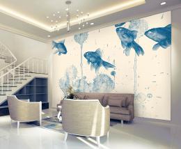 InSmile ® Tapeta modré rybky Vel. (šíøka x výška)  144 x 105 cm