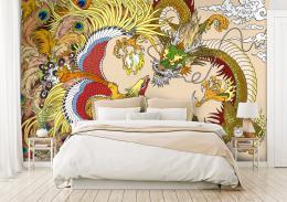 InSmile ® Tapeta èínský drak a Fénix Vel. (šíøka x výška)  144 x 105 cm