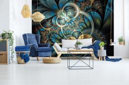 InSmile ® Tapeta modrozlaté obrazce Vel. (šíøka x výška)  144 x 105 cm
