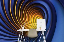 InSmile ® Tapeta modrozlatá spirála Vel. (šíøka x výška)  144 x 105 cm - zvìtšit obrázek