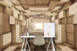 InSmile ® 3D tapeta døevìný tunel Vel. (šíøka x výška)  144 x 105 cm