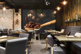 InSmile ® Tapeta do kavárny Zrnka kávy Vel. (šíøka x výška)  144 x 105 cm - zvìtšit obrázek