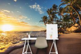 InSmile ® Tapeta Pláž pøi západu slunce Vel. (šíøka x výška)  144 x 105 cm - zvìtšit obrázek