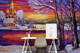 InSmile ® Tapeta ilustrace zima Vel. (šíøka x výška)  144 x 105 cm