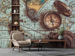 InSmile ® Tapeta Mapa a kompasy Vel. (šíøka x výška)  144 x 105 cm