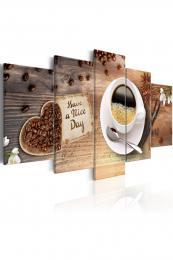 Murando DeLuxe Pìtidílný obraz - èerstvá ranní káva  - zvìtšit obrázek