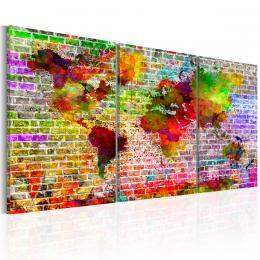 Murando DeLuxe Tøídílné obrazy - mapa na zdi