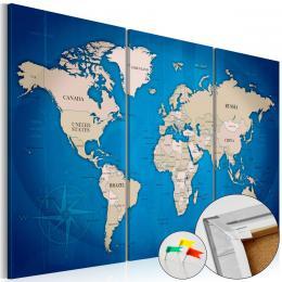 Murando DeLuxe Mapa na korkové tabuli- modrá cesta Velikost  90x60 cm