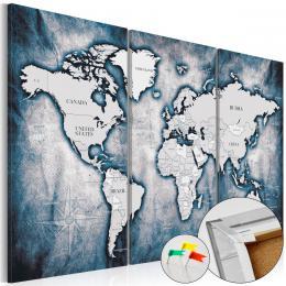 Murando DeLuxe Mapa na korkové tabuli - modrá mapka Velikost  90x60 cm