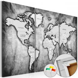 Murando DeLuxe Mapa na korkové tabuli - èerno šedé kontinenty Velikost  90x60 cm