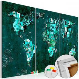 Murando DeLuxe Mapa na korkové tabuli - smaragdová mapa