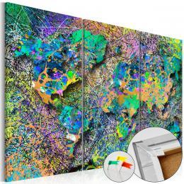 Murando DeLuxe Mapa na korkové tabuli - barevné nitky