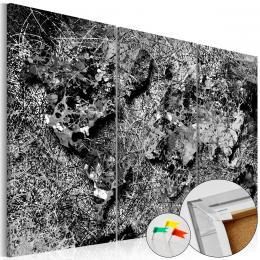 Murando DeLuxe Mapa na korkové tabuli - šedé nitky