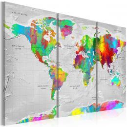 Murando DeLuxe Tøídílné obrazy - mapa barevná jemnost