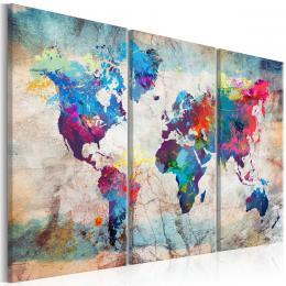 Murando DeLuxe Tøídílné obrazy - mapa barevné šílenství Velikost  120x80 cm
